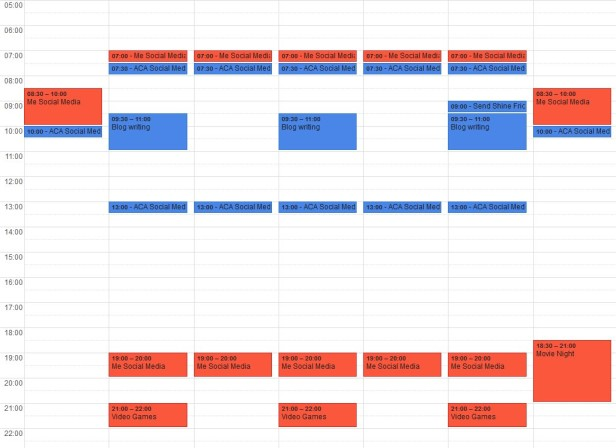 A digital calendar excerpt showing digital tasks separately from digital fun.