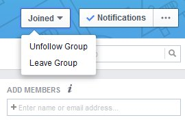 Hover over Joined then click leave group