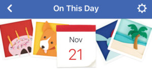 From Facebook, a screen capture of On This Day for Nov 21